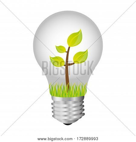 bulb with plant inside icon, vector illustration design image
