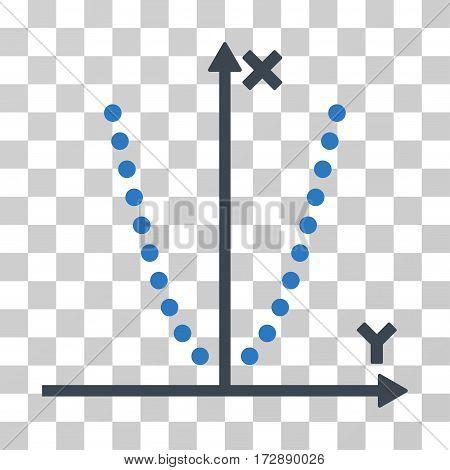 Parabole Plot vector pictogram. Illustration style is flat iconic bicolor smooth blue symbol on a transparent background.