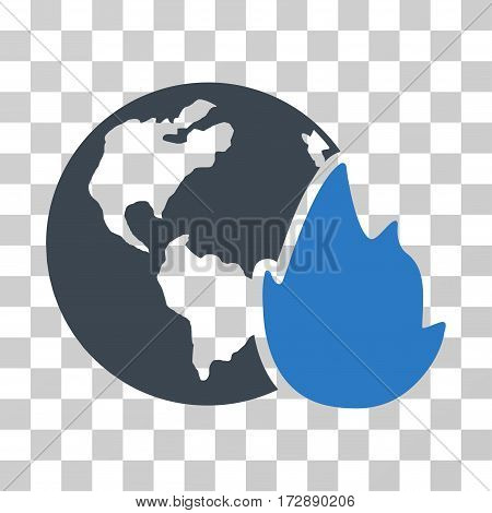 Planet Flame vector pictograph. Illustration style is flat iconic bicolor smooth blue symbol on a transparent background.