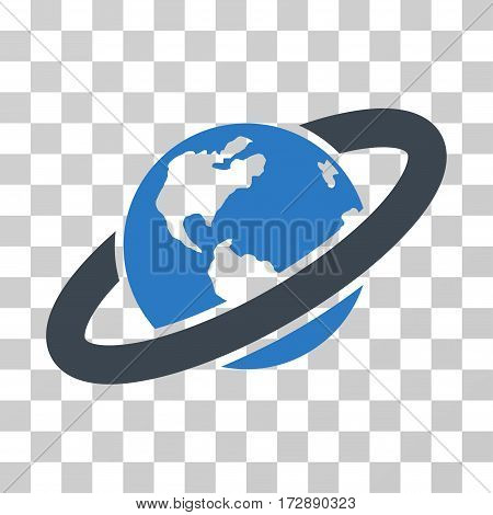 Ringed Planet vector pictogram. Illustration style is flat iconic bicolor smooth blue symbol on a transparent background.