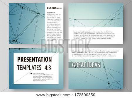 Set of business templates for presentation slides. Easy editable abstract vector layouts in flat design. Geometric background, connected line and dots. Molecular structure. Scientific, medical, technology concept.