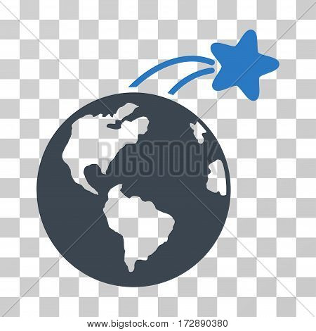 Rising Satellite On Earth vector pictograph. Illustration style is flat iconic bicolor smooth blue symbol on a transparent background.
