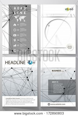Business templates for brochure, magazine, flyer, booklet or annual report. Cover design template, easy editable vector, abstract flat layout in A4 size. DNA and neurons molecule structure. Medicine, science, technology concept. Scalable graphic.