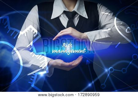 Business, Technology, Internet And Networking Concept. Business Woman Chooses Icon - Risk Management