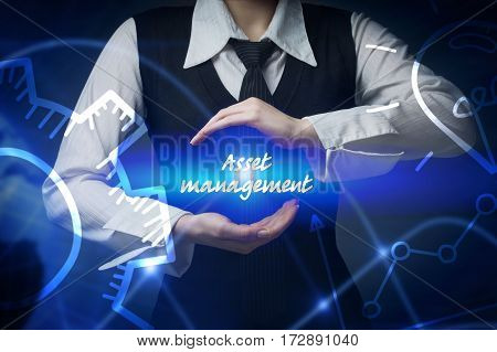 Business, Technology, Internet And Networking Concept. Business Woman Chooses Icon - Asset Managemen