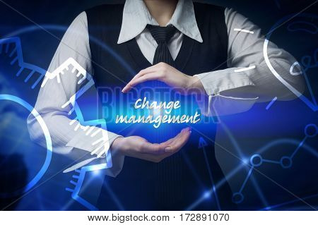 Business, Technology, Internet And Networking Concept. Business Woman Chooses Icon - Change Manageme