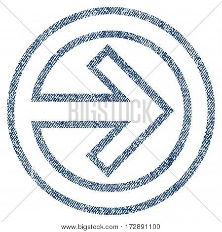 Import vector textured icon for overlay watermark stamps. Blue jeans fabric vectorized texture. Symbol with unclean design. Blue ink rubber seal stamp with fiber textile structure.