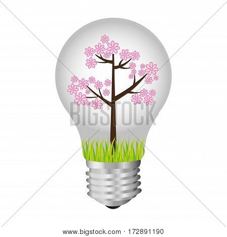 bulb with tree inside icon, vector illustration design image