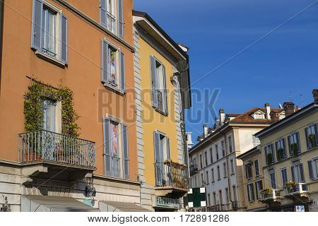 monza, italy - october 16, 2016: Monza (Brianza Lombardy Italy): historic buildings along via Vittorio Emanuele II