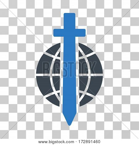 Sword Globe vector pictogram. Illustration style is flat iconic bicolor smooth blue symbol on a transparent background.