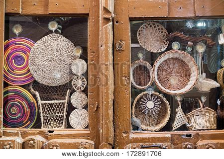 Leon (Castilla y Leon Spain): wicker objects in a shop window