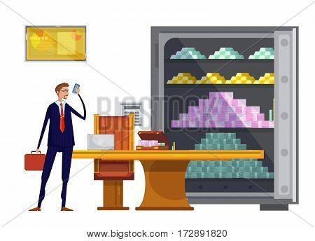 Cartoon composition with office safe box filled with tons of money and successful financial worker character vector illustration