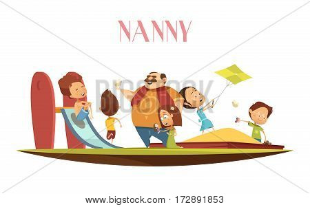 Male babysitter enjoys playing with kids flying kite outdoor on playground with slide retro cartoon vector illustration