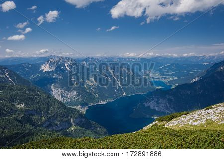 Top view of the mountains in Austria, Hallstatt