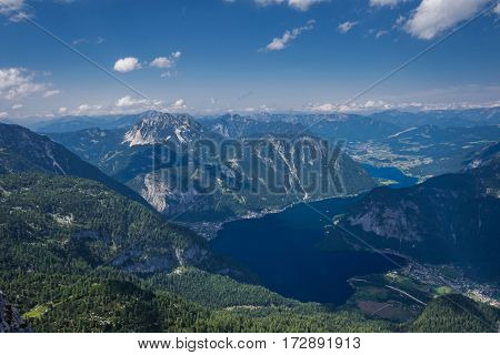 Top view of the mountains and the lake in Austria, Hallstatt