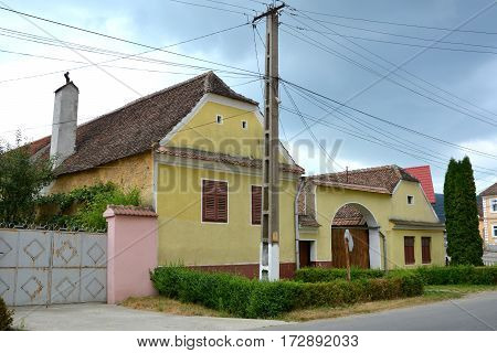 Typical houses in the village Vulcan (German: Wolkendorf),  a commune in Braşov County in the centre of Romania, 16 km west of the county capital Braşov