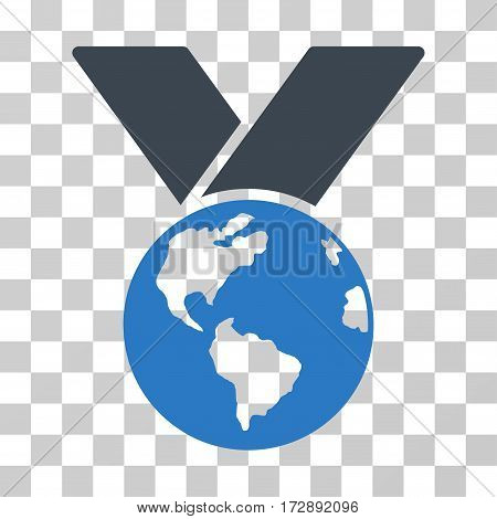 World Medal vector pictograph. Illustration style is flat iconic bicolor smooth blue symbol on a transparent background.