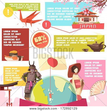 Japan retro cartoon infographics with flag and globe information about culture elements and traditional food vector illustration