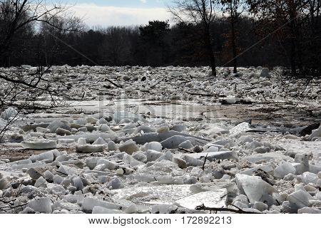 Flood waters send chunks of ice down a river