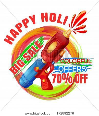 Promotional background with pichkari for Holi festival. Big sale. Colorful offers. Best Holi Pichkari guns gulaal for happy Holi. Vector editable illustration