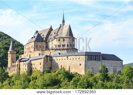 Vianden castle and a small valley Luxembourg.