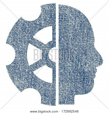 Intellect vector textured icon for overlay watermark stamps. Blue jeans fabric vectorized texture. Symbol with scratched design. Blue ink rubber seal stamp with fiber textile structure.
