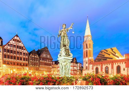 old town with the Justitia statue in Frankfurt Germany