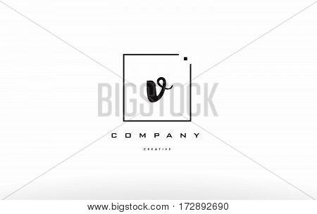 V Hand Writing Letter Company Logo Icon Design