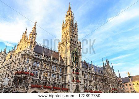 Town Hall (Rathaus) in Marienplatz Munich Germany