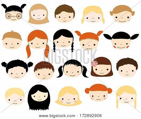 Cute vector kids faces - Caucasian boys and girls heads in flat style