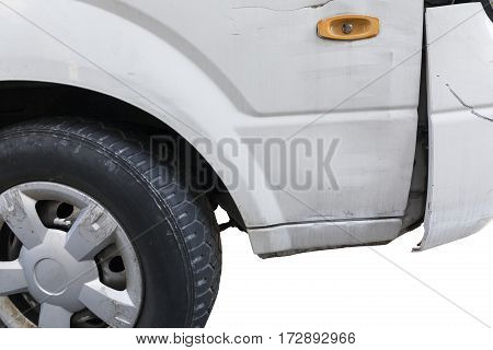 crashed car front side isolated on white.