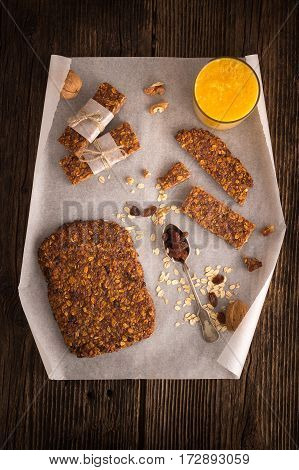 Cereal bars with raisins and nuts. Healthy nutrition vegan food with protein.