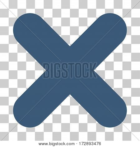 Cancel vector pictograph. Illustration style is flat iconic blue symbol on a transparent background.