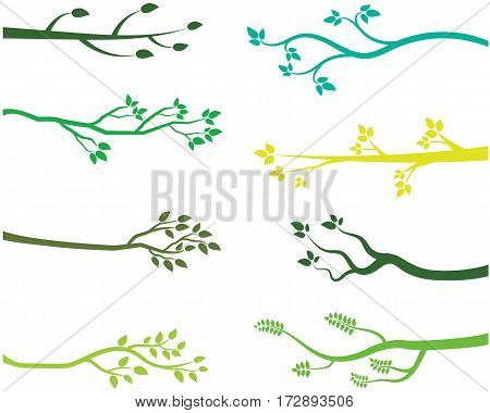 Green tree branch silhouettes in flat style
