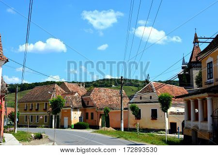 Typical houses in the village Biertan, one of the most important Saxon villages with fortified churches in Transylvania, having been on the list of UNESCO World Heritage Sites since 1993