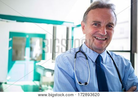 Portrait of doctor smiling at camera in the hospital