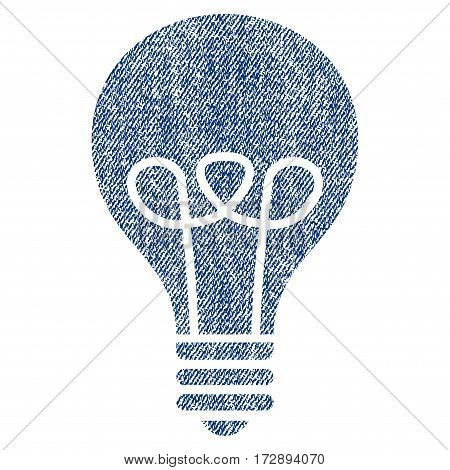 Lamp Bulb vector textured icon for overlay watermark stamps. Blue jeans fabric vectorized texture. Symbol with scratched design. Blue ink rubber seal stamp with fiber textile structure.