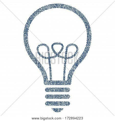 Lamp Bulb vector textured icon for overlay watermark stamps. Blue jeans fabric vectorized texture. Symbol with unclean design. Blue ink rubber seal stamp with fiber textile structure.