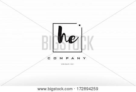 He H E Hand Writing Letter Company Logo Icon Design