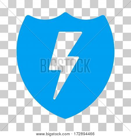 Electric Shield vector pictogram. Illustration style is flat iconic blue symbol on a transparent background.