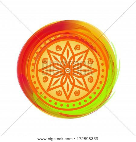 Beautiful colorful mandala. Design element for festival of colors, Happy Holi. Circular pattern in Indian style. Eight pointed star on the bright multicolored background.  Lotus. Vector illustration
