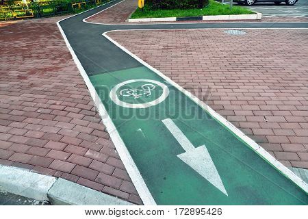 Bicycle lane in the city of Khimki, Russia