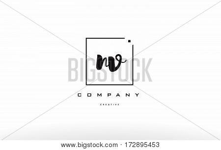 Nv N V Hand Writing Letter Company Logo Icon Design