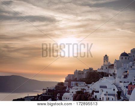 Sunset Of Oia In Santorini Island