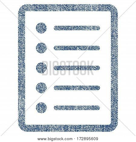 List Page vector textured icon for overlay watermark stamps. Blue jeans fabric vectorized texture. Symbol with unclean design. Blue ink rubber seal stamp with fiber textile structure.
