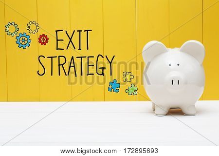 Exit Strategy Text With Piggy Bank