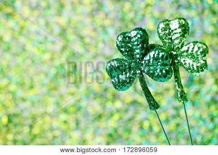 Saint Patricks Day Shiny Green Clovers