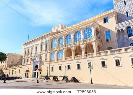 view of the facade of the Princes Palace of Monaco in Monaco-Ville Monaco