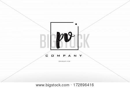 Pv P V Hand Writing Letter Company Logo Icon Design