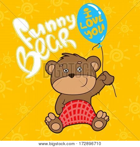 Funny bear whith ballon. Vector illustration print